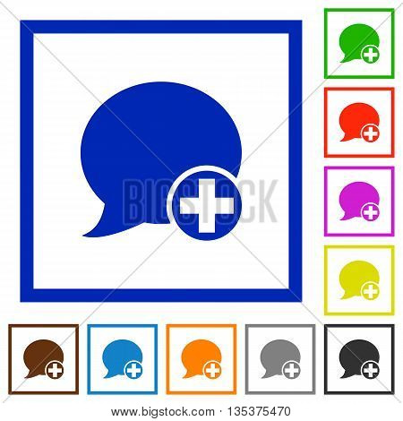 Set of color square framed post blog comment flat icons
