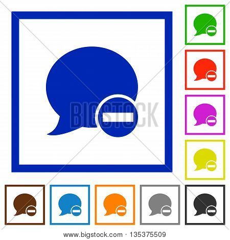 Set of color square framed Delete blog comment flat icons