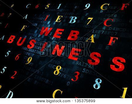 Web development concept: Pixelated red text Web Business on Digital wall background with Hexadecimal Code