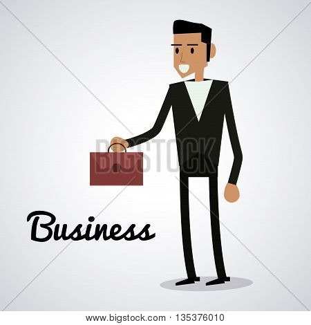 Business represented by businessman with suitcase design, isolated and flat  background