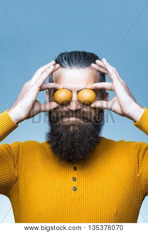 Smiling Bearded Man With Egg