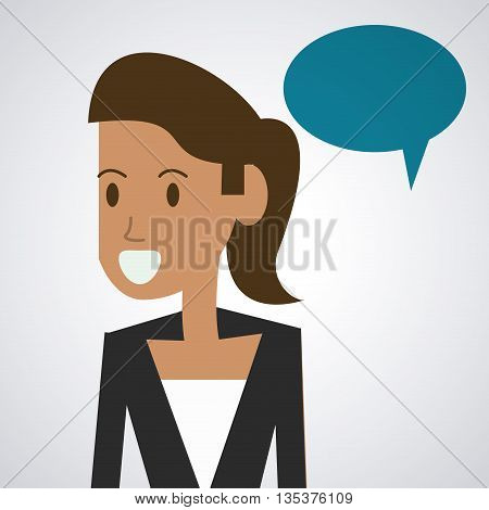 Communication represented by female person with bubble  design, isolated and flat  background
