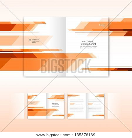 booklet abstract future form orange - brochure design template