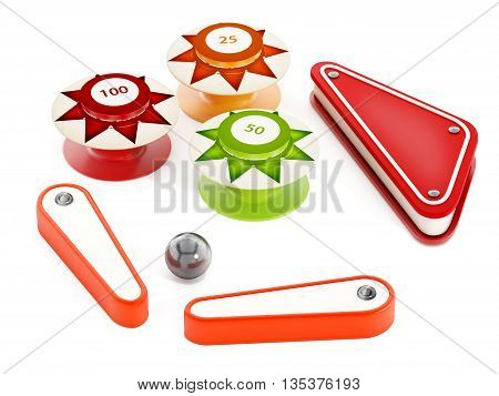 Pinball bumpers flippers and metal ball on white background. 3D illustration.
