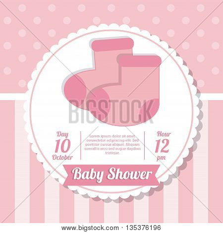 Baby Shower represented by sock design, decorated and pink background
