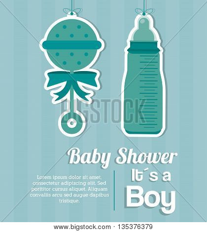 Baby Shower represented by bottle and maraca design, decorated and pastel background