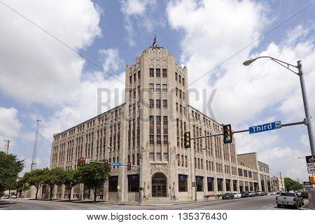 SAN ANTONIO USA - APR 11: San Antonio Express News building. April 11 2016 in San Antonio Texas United States