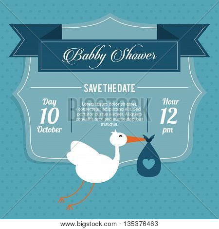 Baby Shower represented by stork design, decorated and pastel background