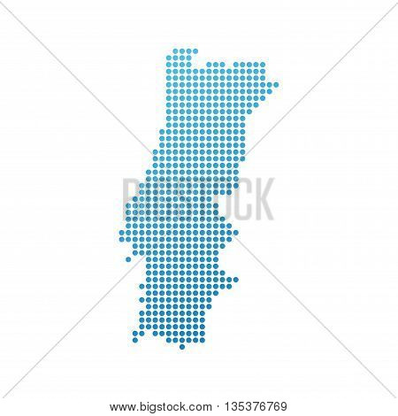 Map of Portugal Icon in blue modern style
