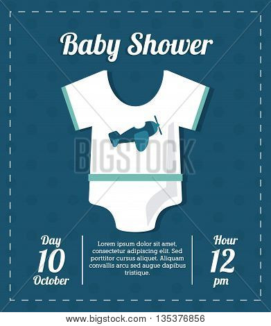 Baby Shower represented by pijama design, decorated and blue background