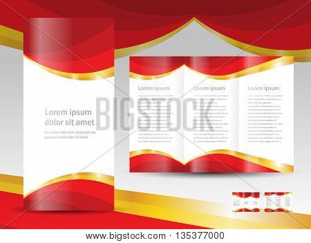 brochure design template curtain red gold drapes