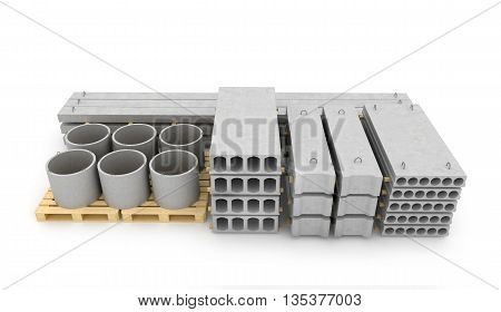 Reinforced concrete items on white background. 3D illustration