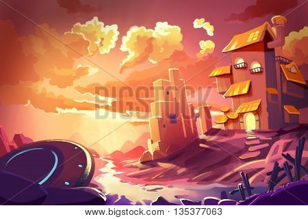 Watercolor Style Video Game Digital CG Artwork Concept Art Illustration Set 3: House on the Beach. Realistic Fantastic Cartoon Style Character, Background, Wallpaper, Story, Card Design