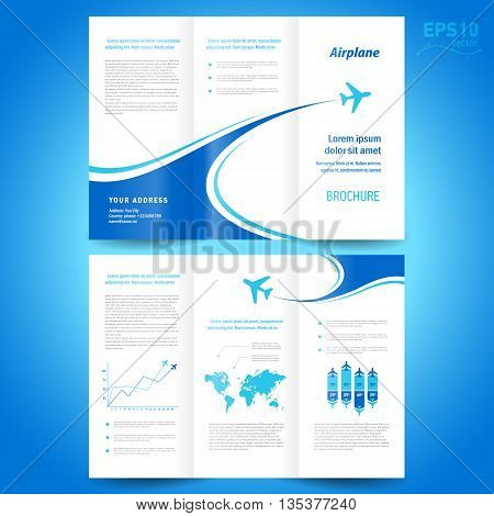 brochure design template tri-fold airplane flight line takeoff white background