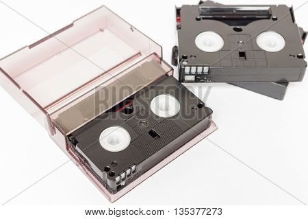 Old analog video cassette tapes mini dv