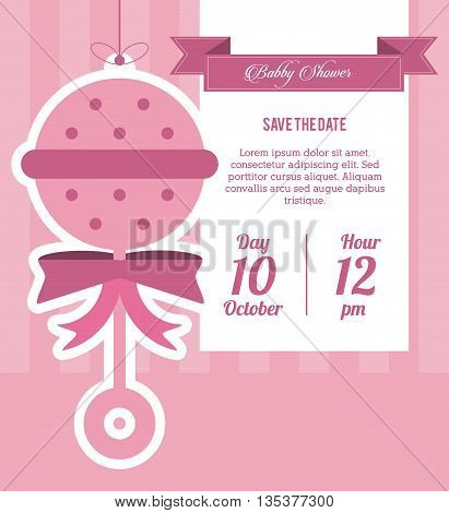 Baby Shower represented by maraca design, decorated and pink background