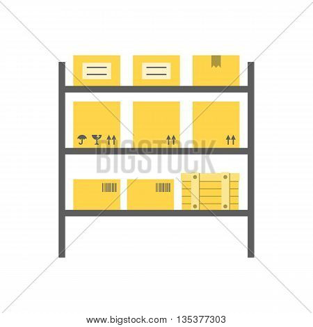 Vector storage,rows of shelves with boxes,flat design