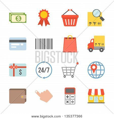 Vector shopping and logistic icons set,flat design