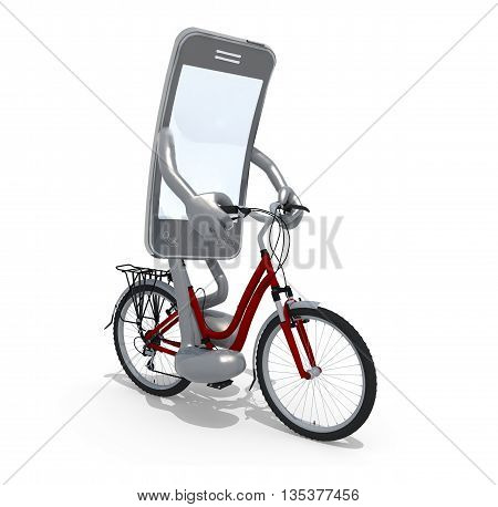 Smartphone With Arms And Legs Riding A Bicycle