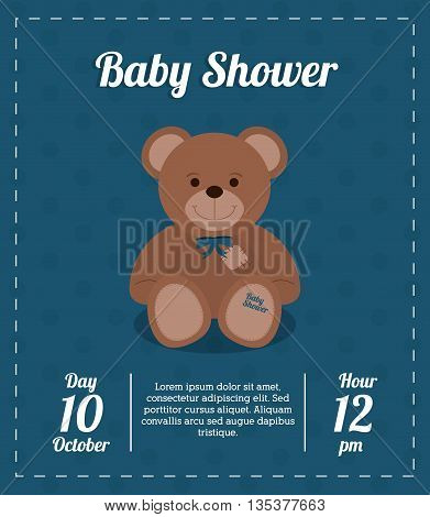 Baby Shower represented by teddy bear design, decorated and blue background