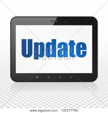 Web development concept: Tablet Computer with  blue text Update on display,  Hexadecimal Code background, 3D rendering