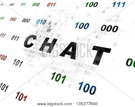 Web design concept: Pixelated black text Chat on Digital wall background with Binary Code