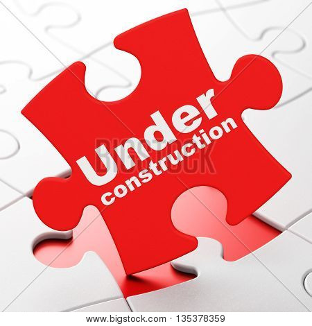 Web design concept: Under Construction on Red puzzle pieces background, 3D rendering
