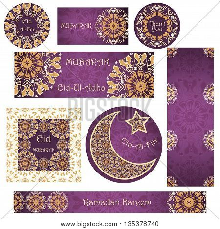 Vector set of cards and banners to Ramadan and Feast of Breaking the Fast. Greeting cards with text mandalas patterns and Muslim symbols