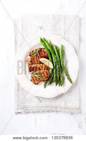 Grilled Pork Tenderloin with Green Asparagus