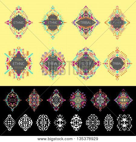 Vector set of ethno geometric patterns. Elements for design. Ethnic tribal aztec style. Set of labels with place for text