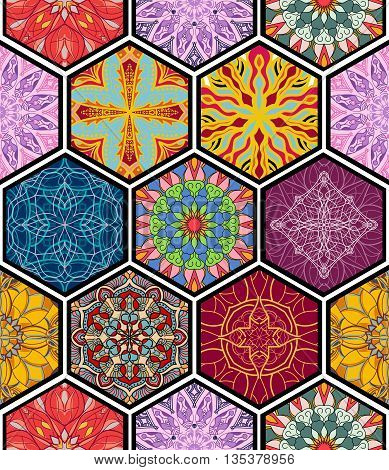 Vector seamless texture. Beautiful mega patchwork mosaic pattern for design and fashion with decorative elements in hexagon shapes. Arabic oriental asian floral motifs