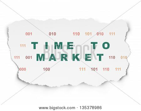 Time concept: Painted green text Time to Market on Torn Paper background with  Binary Code