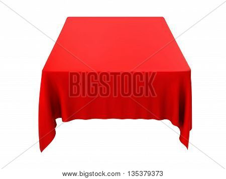 Red tablecloth on table isolated on a white background