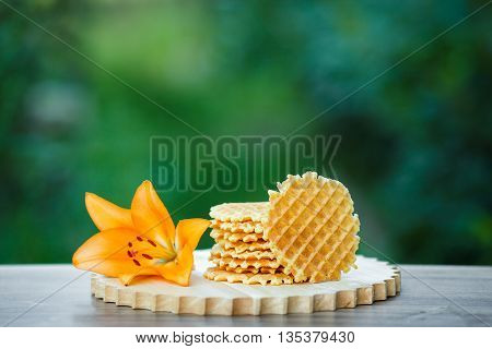 Belgian waffles with fresh berries on cutting board on background of green bokeh