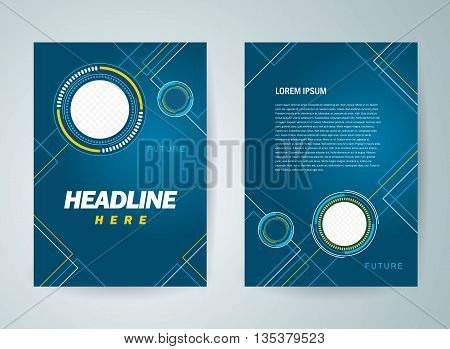 Business brochure design template flyer futuristic hi-tech