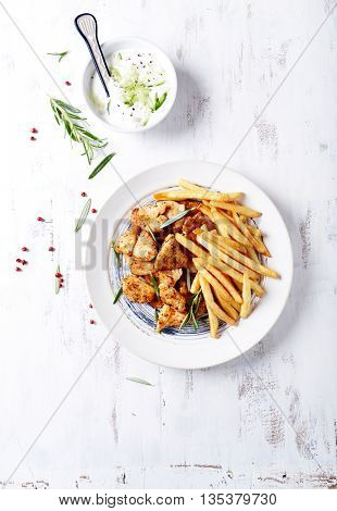 Chicken Gyros with French Fries and Tzatziki