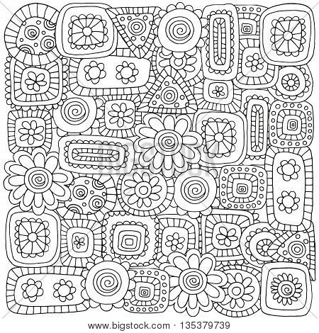 Pattern for coloring book with flovers and abstract figures. Ethnic floral retro doodle vector tribal design element. Black and white background.