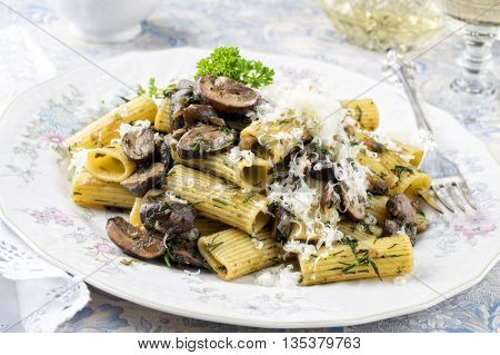 Penne Rigate with Mushrooms on a Plate