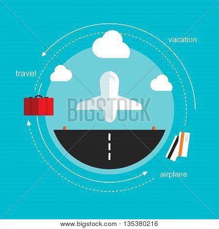 airplane takeoff travel flat design illustration vector