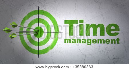 Success timeline concept: arrows hitting the center of target, Green Time Management on wall background, 3D rendering