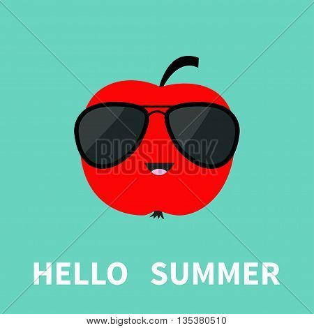 Big red apple fruit wearing sunglasses. Cute cartoon smiling character. Hello summer Greeting Card. Flat design. Blue background. Vector illustration