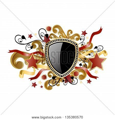 Gold royal coat of arms. Classic royal emblem. Heraldry.Vector illustration