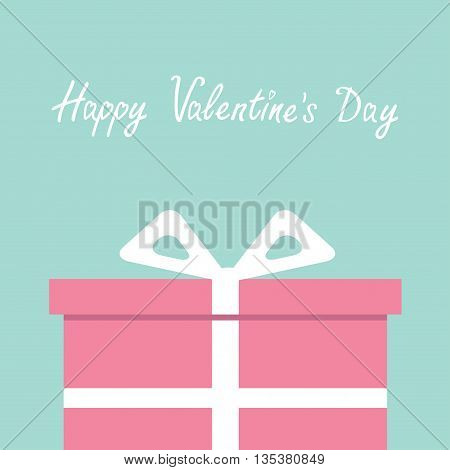Gift box with ribbon and bow. Present giftbox. Flat design. Happy Valentines Day card. Blue background. Vector illustration