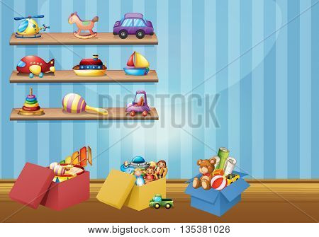 Many toys on the shelves and floor illustration