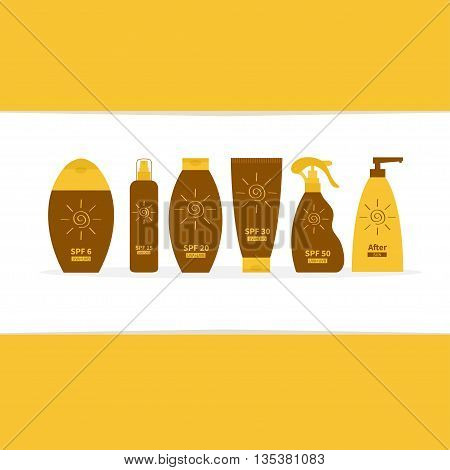 Tube of sunscreen suntan oil cream. After sun lotion. Bottle set. Solar defence. Spiral sun sign symbol icon. SPF different sun protection factor UVA UVB sunscreen. Frame White background. Flat Vector