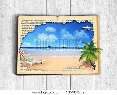 Concept of reading. Open book with picture of rest. Ocean sky and beach with palm tree and sunbed. Concept of vacation on a wooden background.
