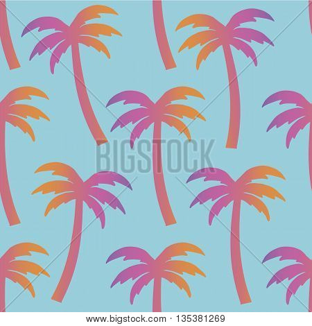 Gradient palms on a blue background pattern. Vector illustration.