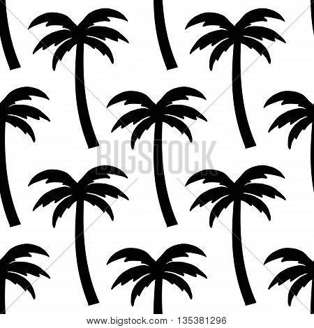 Black palms on transparent background pattern. Vector illustration.