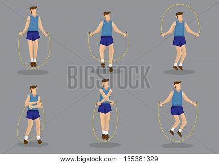 Cartoon man holding rope and jumping in various style. Set of six vector character illustration for health and fitness concept isolated on grey background.