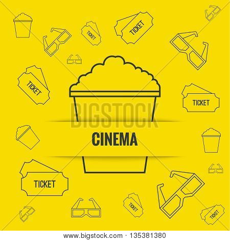 Abstract background with popcorn, 3D glasses and  tickets. The concept of a cinema and watching a movie. Layout, flyer, poster for announcement